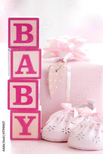 Fototapete Baby shower - Rosa - Spielzeug / drinnen