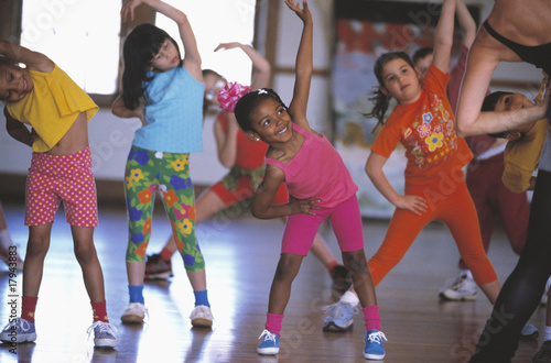 Group of children in exercise class