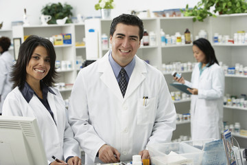Portrait of pharmacists in pharmacy