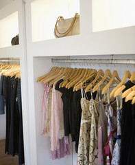 Rack of women's clothing in boutique