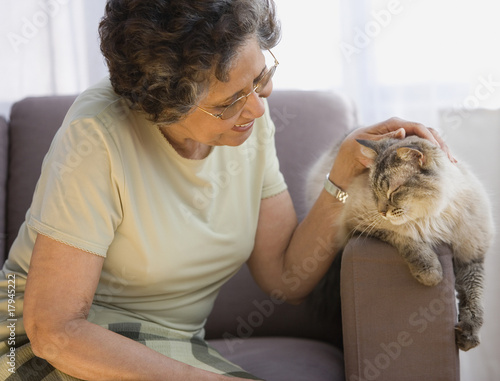 Senior Hispanic woman petting cat on sofa