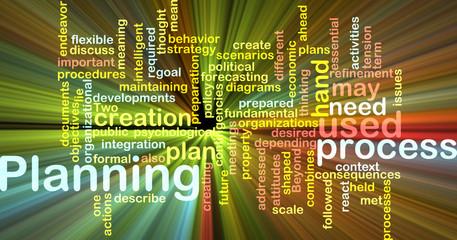 Planning word cloud glowing