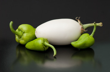 white egg-plant and pepper