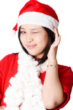 christmas santa woman make a grimace poster