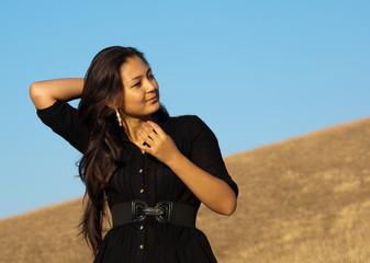 Beautiful asian young woman in black