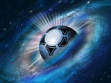 Fototapeta Child room - cosmos background with a soccer ball © Pagina