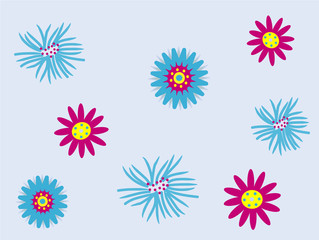 Blue and pink retro flowers on pale blue background