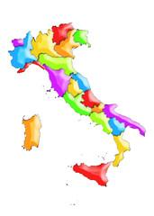 Italia con regioni in rilievo