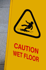 bright yellow caution sign