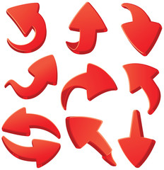 Set of red 3d arrows