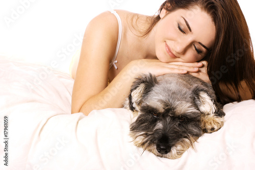 Girl with her adorable Schnauzer
