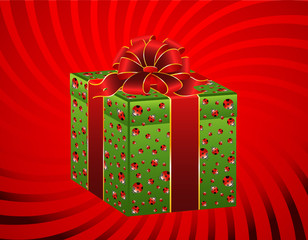 christmas green gift with ladybirds on a background
