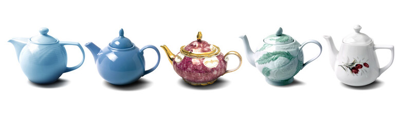 close up shot of a teapots on white background