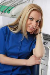 Woman dentist in lab