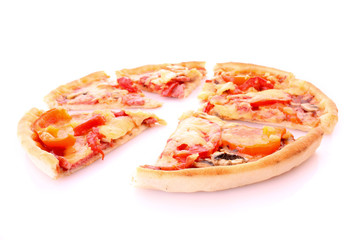 Tasty sliced pizza isolated on white
