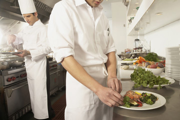 Multi-ethnic male chefs preparing food