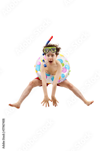 Boy ready to swim and dive isolated on white background - 17967408