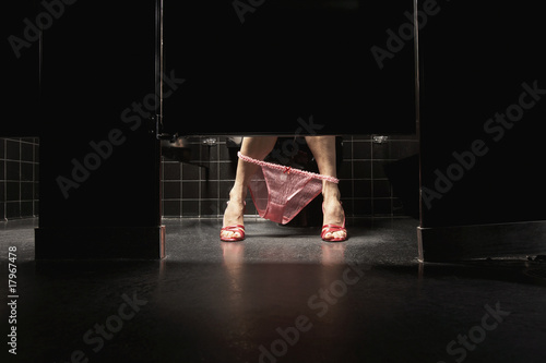 Woman with underwear around ankles in restroom stall