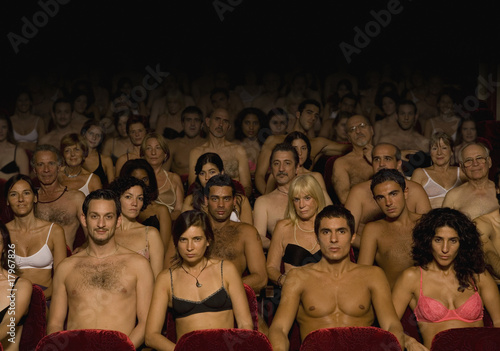 Hispanic people wearing underwear in theatre
