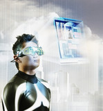 Digital composite of Asian man wearing hologram display glasses