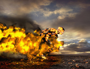 Digital composite of Asian man running on lava