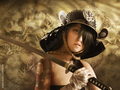 Asian woman dressed as samurai