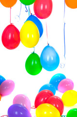 colored balloons isolated on white .