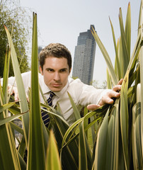 Hispanic businessman pushing aside grass