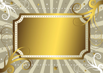 Abstract grey background with gold banner