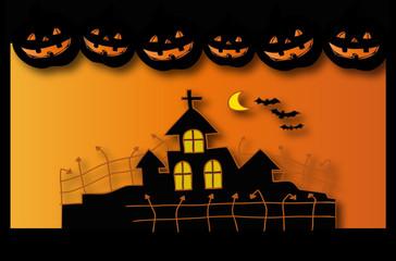 Halloween house postcard