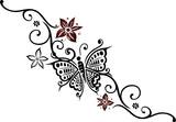 floral filigranes tattoo ranke mit schmetterling butterfly stockfotos und lizenzfreie. Black Bedroom Furniture Sets. Home Design Ideas
