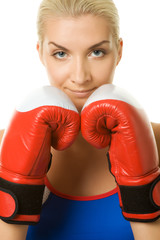 Young woman with a red boxing gloves ....