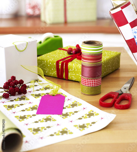 gift wrapping materials on a table