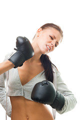 Woman boxing missed the hit