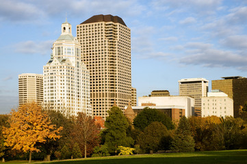 Highrise buildings along Bushnell park, downtown Hartford