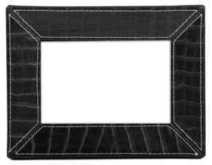 stylish black leather photo frame over white background