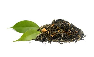 Green tea isolated on white