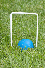 croquet ball sitting under a hoop