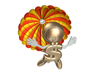 Mr dollar jumps with a parachute, isolated on a white