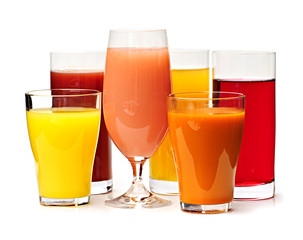 Glasses of various juices