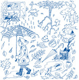 Autumn doodles. Vector illustration poster
