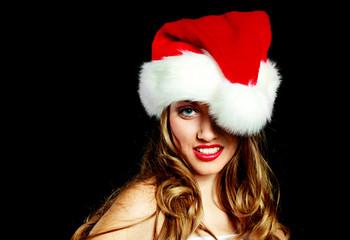 sexy woman dressed as Santa