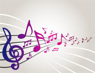 Dancing music notes with copyspace
