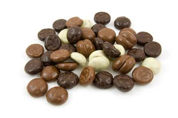 chocolate gingernuts, pepernoten over white background