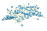 blue and white mice sprinkles over white background poster