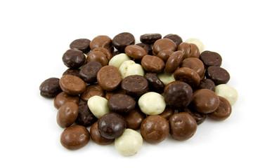 chocolate gingernuts, pepernoten,over white background