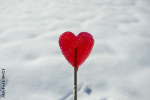 Heart lollipop in snow