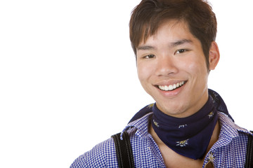 Young Asian in Bavarian Oktoberfest cloth