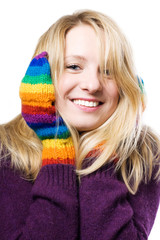 beautiful young woman in colourful gloves