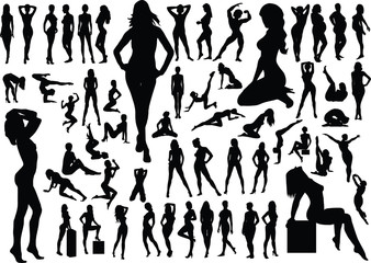 Collection of naked women vector silhouettes